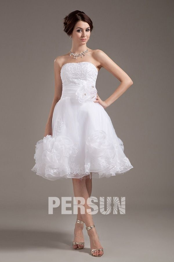 Lymington Organza Strapless Layered Short Bridal Gown Wedding Dress