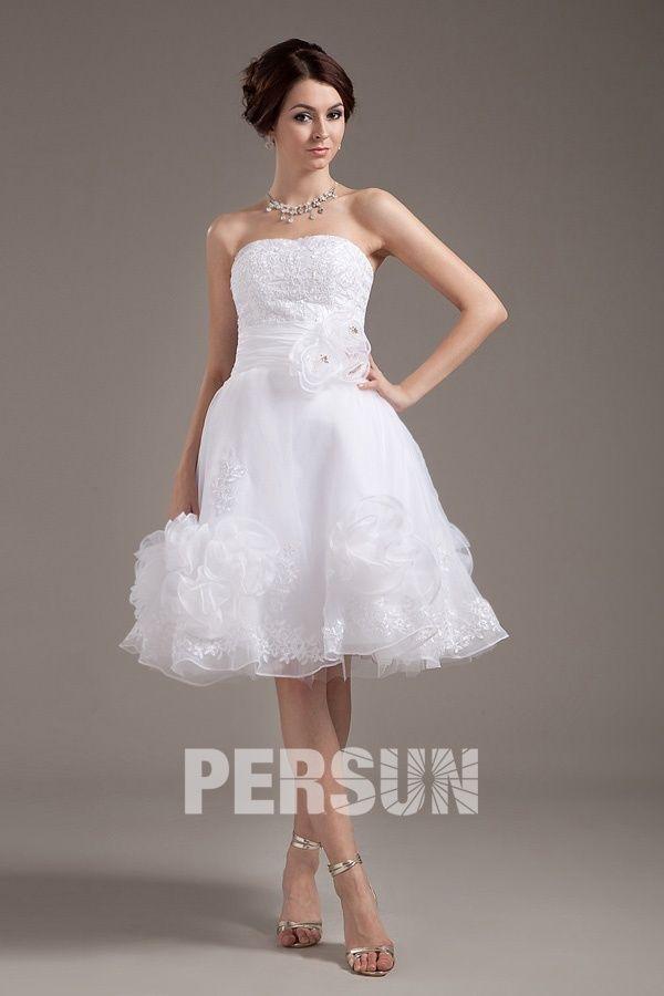 Lymington Organza Strapless Layered Short Bridal Gown Wedding Dress
