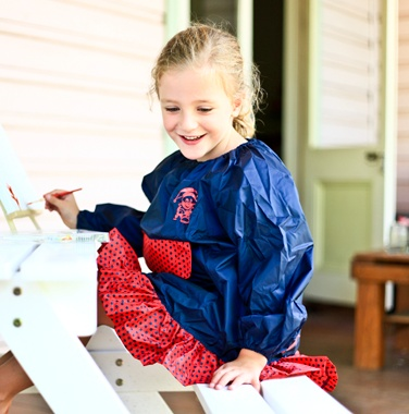 Art Frocks in a bag!  - perfect for protecting your little girl from all the drips and drops or craft hour! Available from www.schoolbags.com.au #Smock #Harlequin #Schoolstuff #Backtoschool