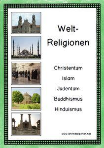 Die fünf grössten Weltreligionen: Christentum, Islam, Judentum, Buddhismus, Hinduismus