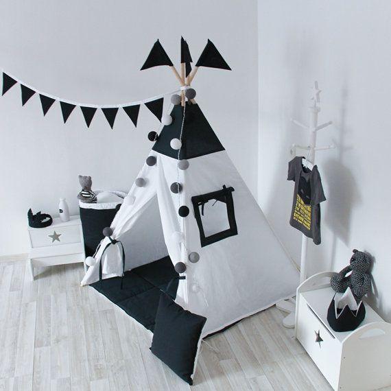 KLAAR VOOR SCHIP Zwart-wit Tipi Tipi Play Tent Play door vamvigvam