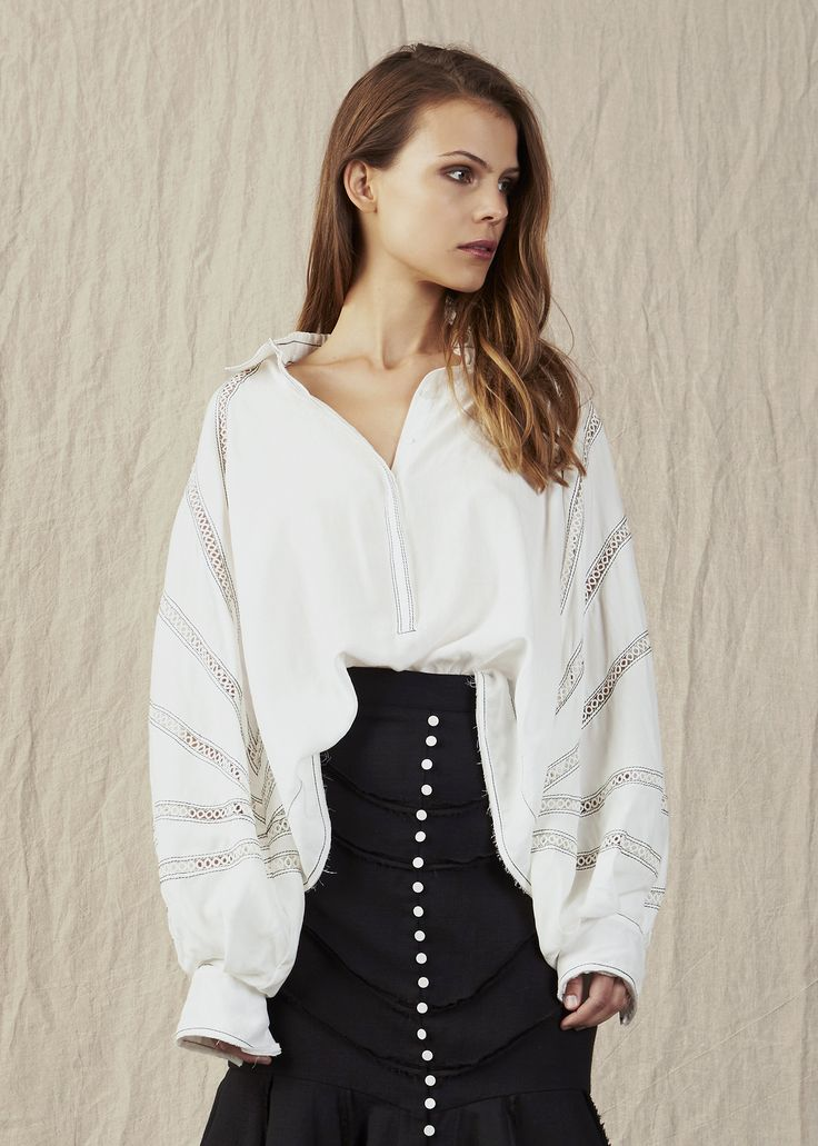 Aristocraft shirt white with high waisted black skirt white buttons. Model - Charlotte @ IMG Beauty - Isabella Schimid @ Union Management Photographer - John Rintoul. #AjeTheLabel #Aje #Fashion #Style #LookBook #AW17 #Autumn #Winter #2017 #AustralianFashion #Designer