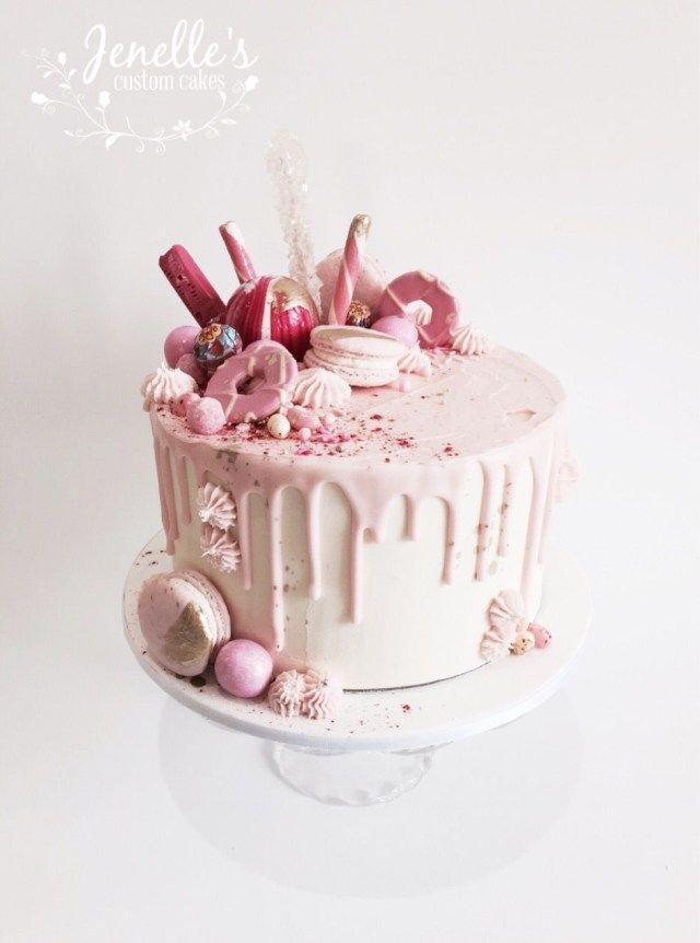 23+ Hübsches Foto von rosa Geburtstagstorten. Rosa Geburtstagskuchen Rosa und Weiß …   – Drip cake inspo