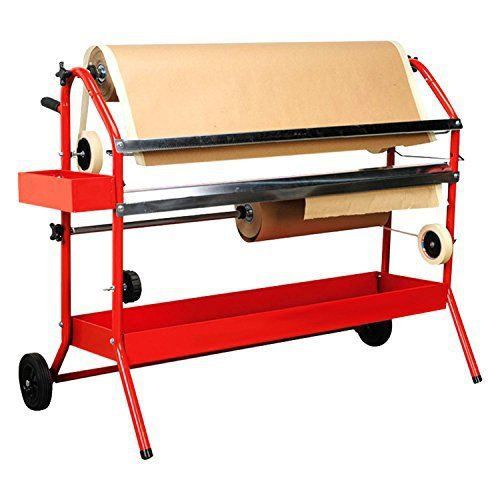 TCP Global Mobile 36' Multi-Roll Masking Paper Machine with Storage Trays – Auto Body Paint & Repair Shop, Car Painting Prep
