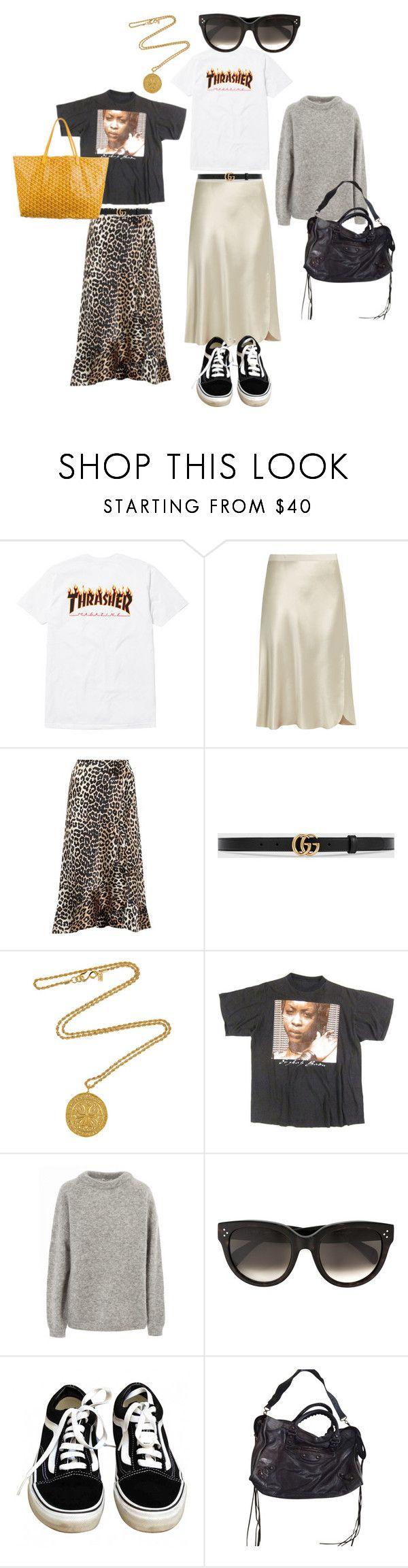 """August in Paris"" by fashiondisguise on Polyvore featuring Nili Lotan, Ganni, Gucci, Kenneth Jay Lane, Acne Studios, CÉLINE, Vans, Balenciaga and Goyard"