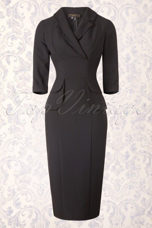 Black pencil dress with pockets on the hips and a v neck. Stop Staring Benoite Black Dress 16691 20150710 0010W