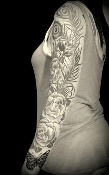 sleeve: Flowers Tattoo, Tattoo Ideas, Tattoo Peacock Sleeve, Art Tattoo, Tattoo Rose Sleeve, Rose And Feathers Tattoo, Body Art, Butterflies Tattoo, Peacock Feathers Sleeve Tattoo