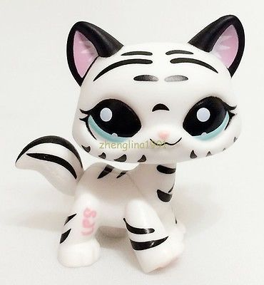 Littlest Pet Shop Tiger Cat Kitty White Striped With Aqua Blue Eyes #1498 ZN