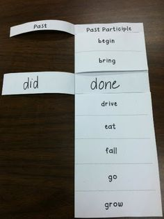 Great irregular verbs foldable!!! (could do this with regular past verbs as well)