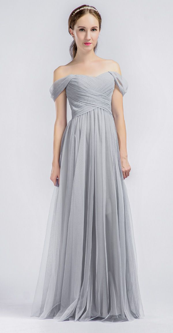 Elegant Long Tulle Off Shoulder Light Grey Bridesmaid Dress  sc 1 st  Pinterest & Best 25+ Light grey bridesmaid dresses ideas on Pinterest | Grey ... Aboutintivar.Com