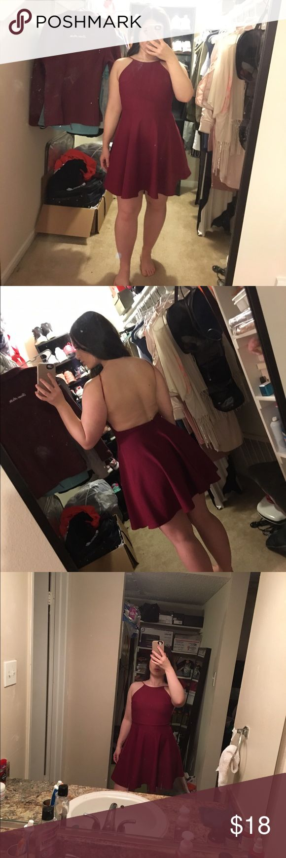 Maroon A-line dress This maroon dress is from Boohoo and is a size medium. It is backless and still has the tags!! Boohoo Dresses Backless