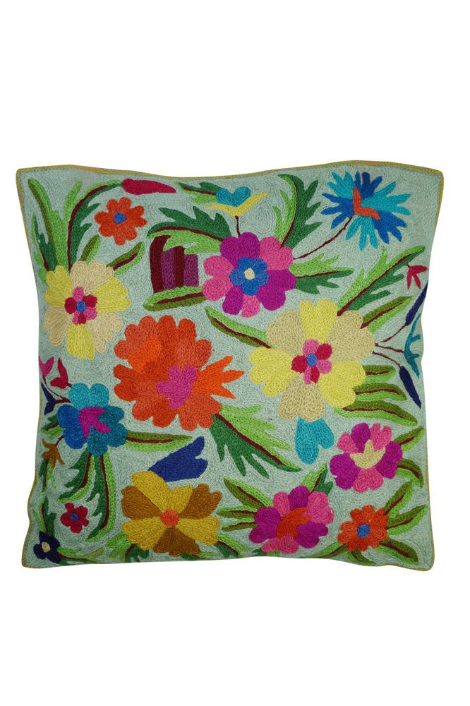 Boho Pillow Cases Woolen Embroidered Indian Suzani Sofa Cushion Covers 16x16  #MogulInterior #Ethnic