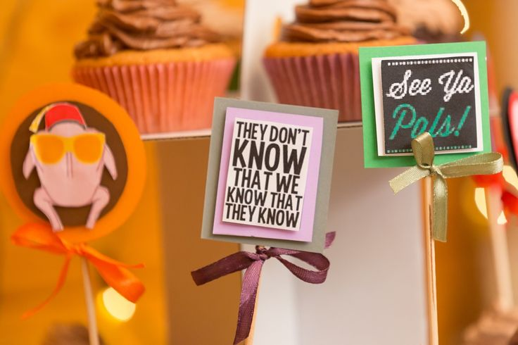 Friends themed wedding in Budapest - homemade chocolate cupcakes with quotes from the series (Friends)