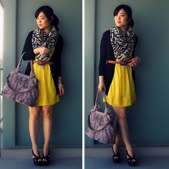 Perfect layers to make a summer dress into a Fall transition outfit with a belter cardigan, tights and boots