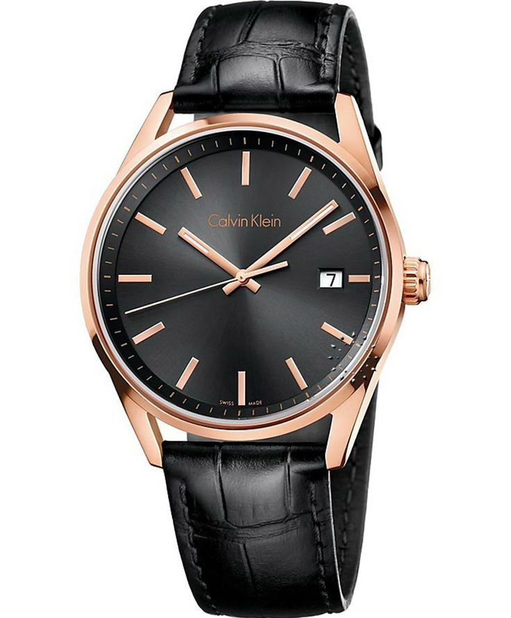 Calvin KLEIN Gold Men Black Leather Strap Τιμή: 236€ http://www.oroloi.gr/product_info.php?products_id=38132