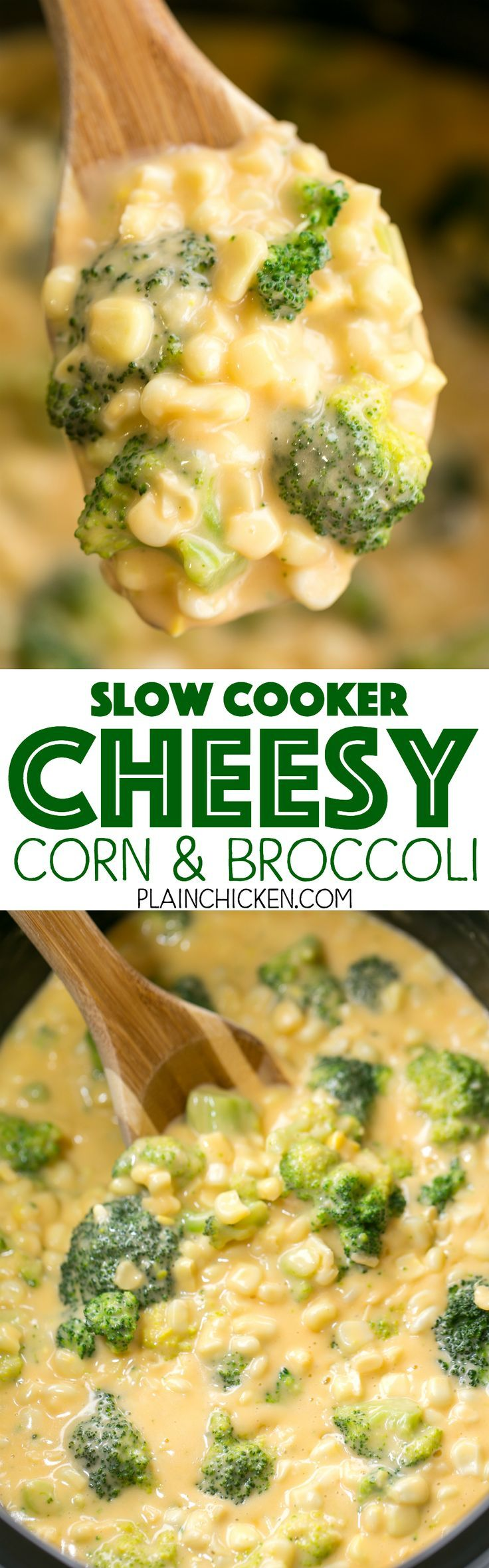 Slow Cooker Cheesy Corn and Broccoli - our favorite side dish! Corn, broccoli, Velveeta, cheddar cheese, cream of chicken soup and milk. Just throw everything in the slow cooker and let it work its magic. Can add ham to the slow cooker and make this a mai