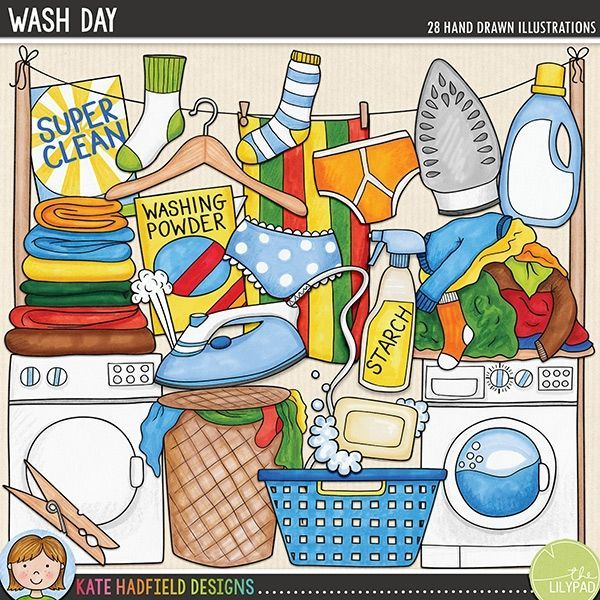 Wash Day Digital Scrapbook Kit Cleaning Hacks Cleaning