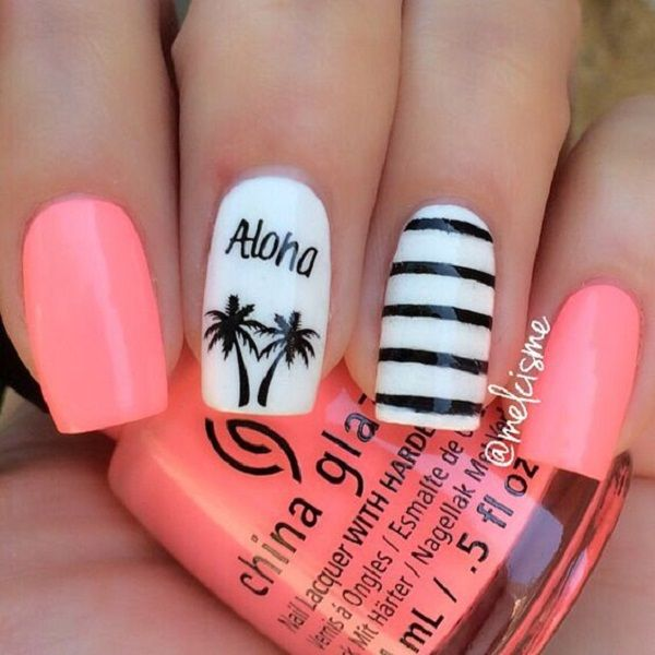 Pink, black and white themed Palm Tree Nail Art design. The cuteness of this nail art design is simply stunning, the combination of the striped design and the cute palm trees go so well together.