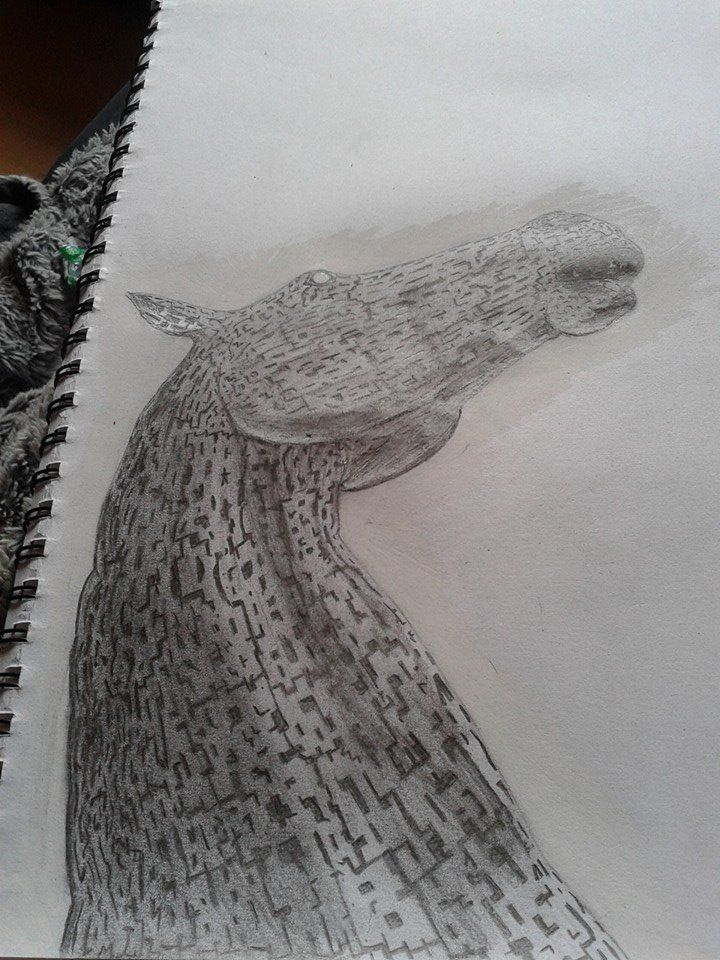 This is a drawing from a photograph I took of one of the Falkirk Kelpies