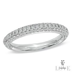 Vera Wang LOVE Collection 1/2 CT. T.W. Diamond Three Row Anniversary Band in 14K White Gold
