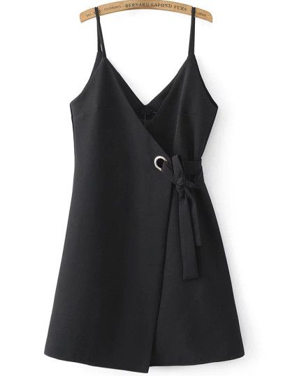 Black Spaghetti Strap Side Tie Asymmetrical Dress