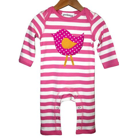 Tantrums - Love Frankie - Little Bird Romper (Pink & White Stripes)
