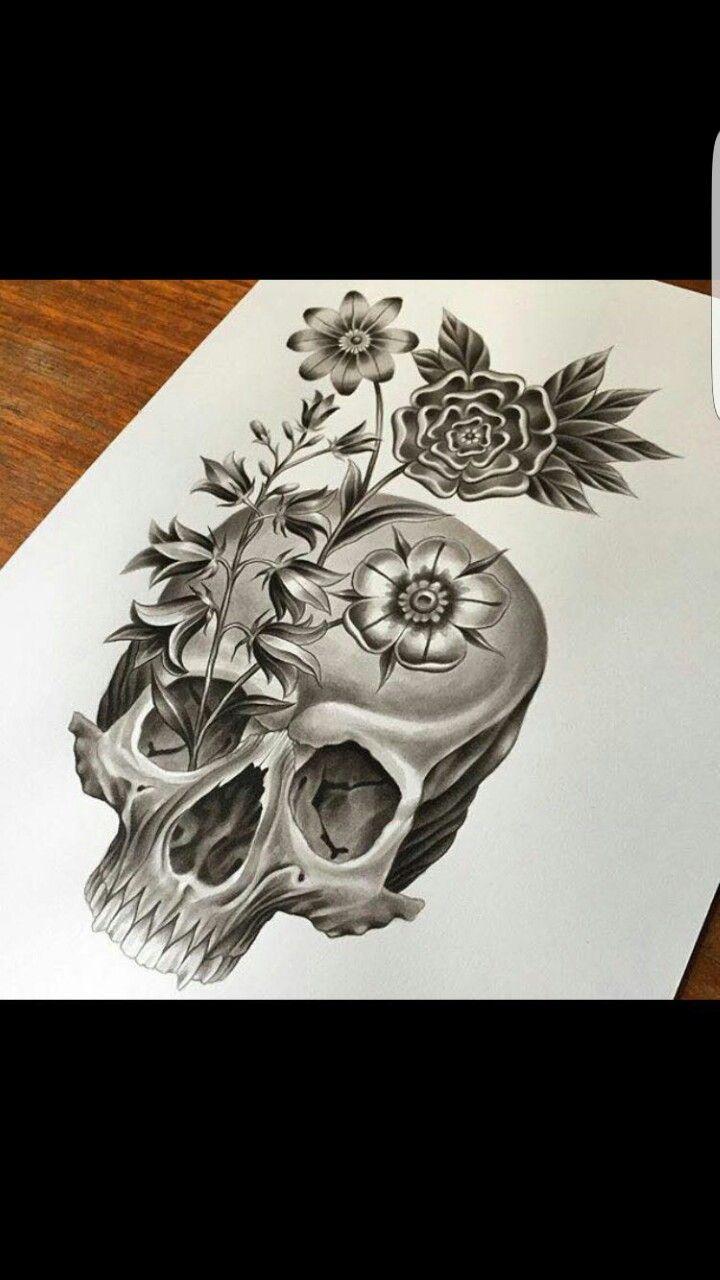 Cemetery and graveyard tattoo on half sleeve - Skulls