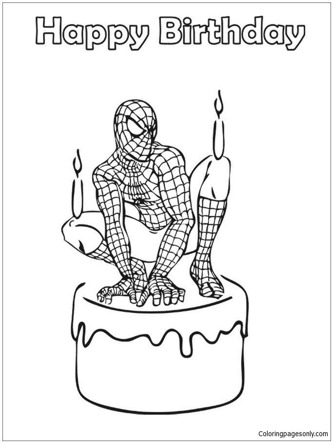 Happy Birthday Coloring Pages Spider Man Birthday Coloring Page Free Coloring Pa Birthday Coloring Pages Happy Birthday Coloring Pages Christmas Coloring Books