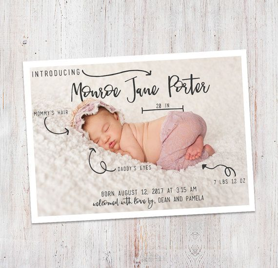 Birth Announcement : Baby Stats Introducing Monroe by deanworks