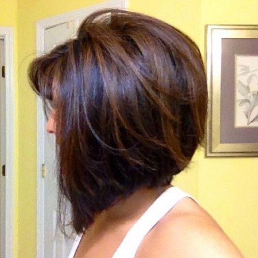 Daily Hairstyle ideas: Light brown highlights on dark brunette short hair Trendy short haircut for women: This is a fabulous high fashion look with lots of volume and edgy angled shaping that creates a totally contemporary look. The back is stack-cut to boost the volume and then expertly graduated down to the front in a … by masch
