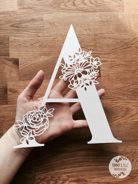 Floral Letter 'A' SVG PDF Design Papercutting Vinyl