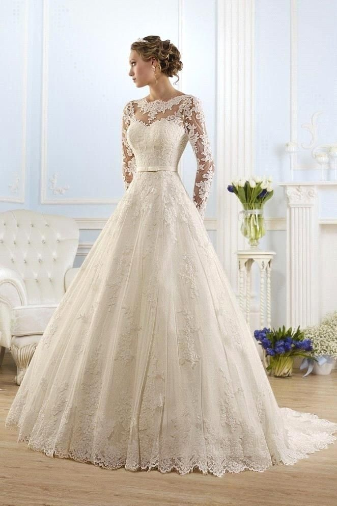 New Arrival Fashionable Scoop Long Sleeve Wedding Dresses Appliques