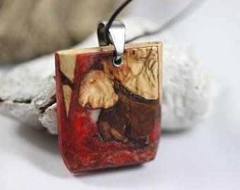 Wood resin necklace/Gift/Harz Holz Halskette mit Edelholz für Sie und Ihn. Resin wood/Natur/gift for him/Weihnachten/Schmuck/Gratisversand