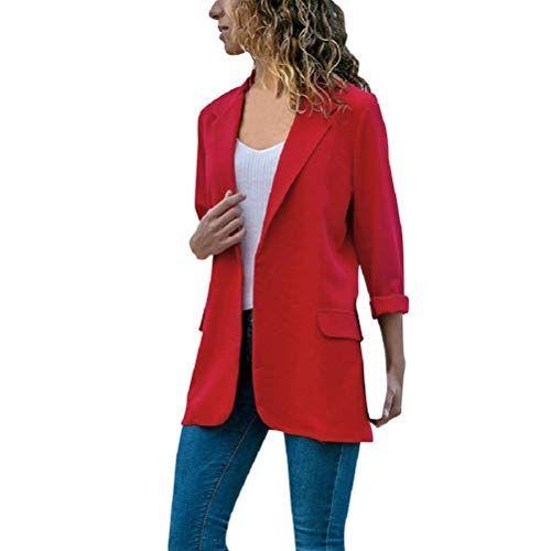 watch a59eb be296 Bluelucon Damen Blazer Elegant Revers Strickjacke Jacke ...