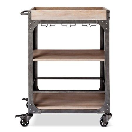 I will not buy from Target, but this is a construct-able idea...it would make a terrific tabouret in the studio...Franklin Bar Cart and Wine Rack - The Industrial Shop™ : Target