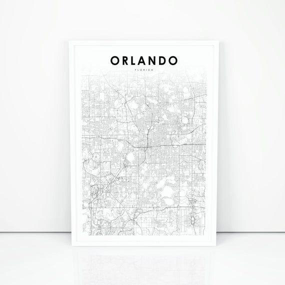 NP350 Florida FL USA Map Art Poster Orlando Map Print Printable city street road map printable gift mom
