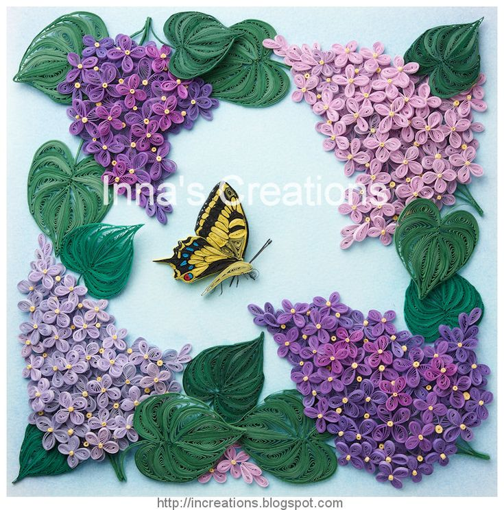 Free 3D Quilling Patterns | Innas Creations: Lilac flowers and butterfly, framed paper quilling