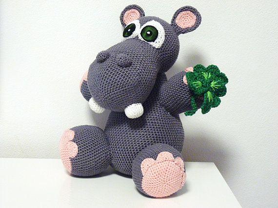 Crochet Pattern Hippo Lenny Amigurumi  PDF Cute Grey by SKatieDes