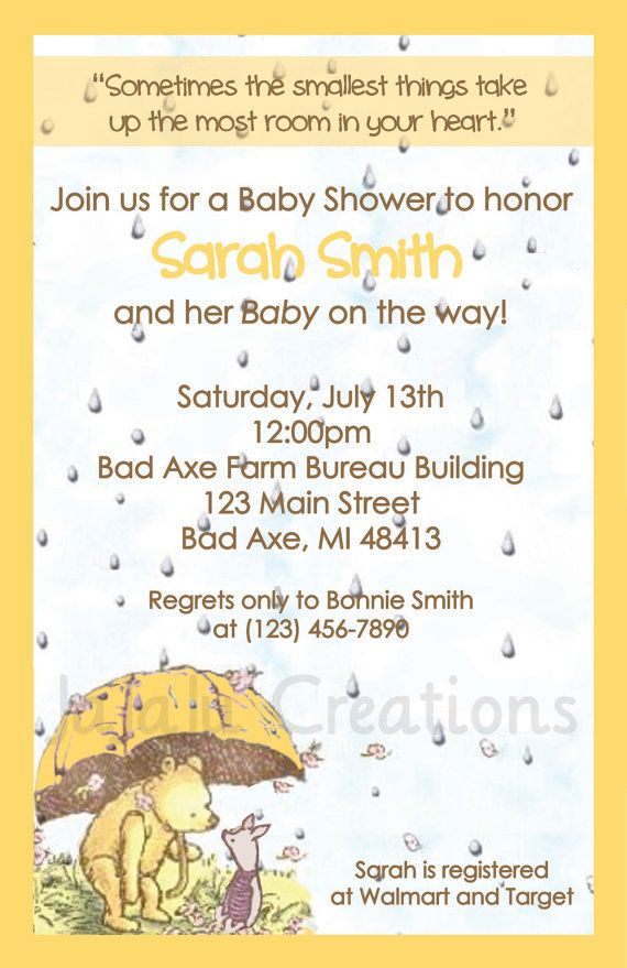 Classic Pooh Series Baby Shower Invitation   Winnie The Pooh Disney Baby  Boy Baby Girl