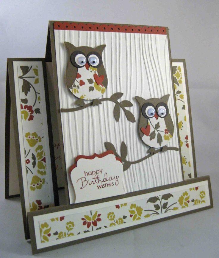 Скрап открытки с совой, открытка днем рождения