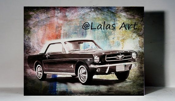 Vintage Retro Style Art Old-timer 1965 black Ford by LalasArtWorld