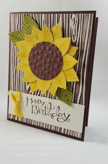 A whimsical birthday sunflower card made with the Festive Flower Builder Punch and Reason for the Season stamp set bundle and the Woodgrain Textured Impressions Embossing Folder.