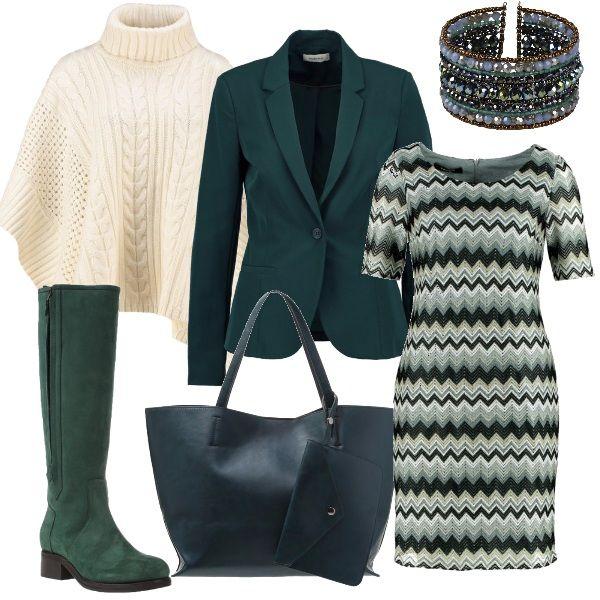 Linee verdi a zig zag per il vestito a manica corta nei toni del verdi, da indossare con un blazer e con accessori dello stesso colore: gli stivali alti scamosciati e la borsa a mano, Completano il tutto una calda mantella bianca e un bracciale e file multiple di perle.