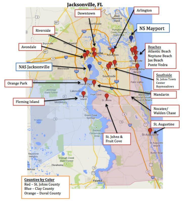 Map of Jacksonville & Mayport, Florida - Military Town Advisor Blog