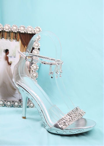 Wedding Shoes with rhinestones http://www.shopzoey.com/Silver-Shoes-with-4-heels-and-.75-platform-Style-500-26.html $49.99