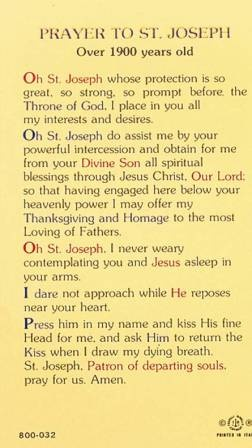 Prayer to St Joseph - Patron Saint of departing souls