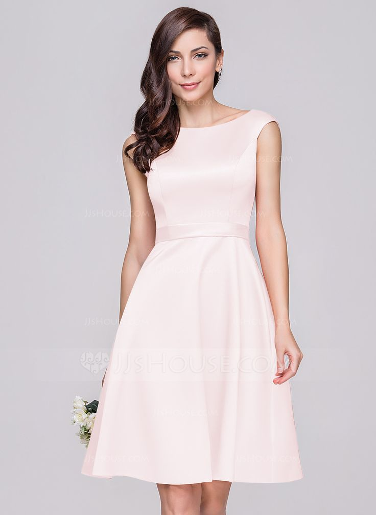 A-Line/Princess Off-the-Shoulder Knee-Length Zipper Up Cap Straps Sleeveless No Other Colors Spring Summer Fall General Plus Satin Bridesmaid Dress