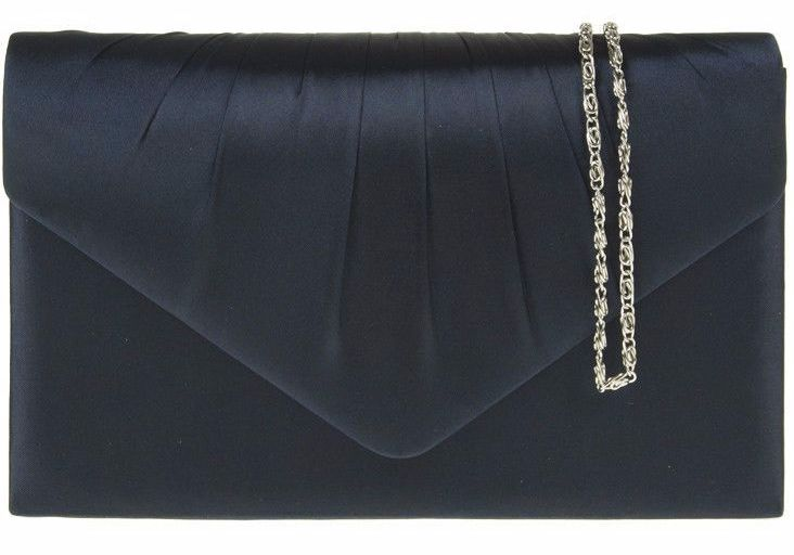A navy blue satin clutch bag shoulder bag with pleated detail to the front The bag fastens with a flap over the top and a concealed metal magnetic