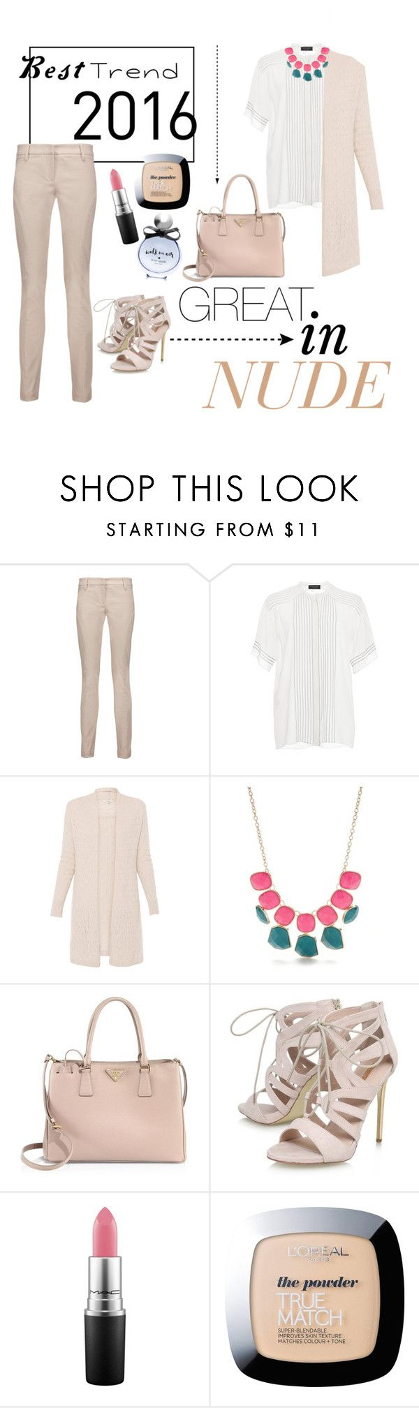 """""""Best Trend"""" by n-khairunnisa ❤ liked on Polyvore featuring Brunello Cucinelli, Burberry, New Directions, Prada, Carvela, MAC Cosmetics, L'Oréal Paris and Kate Spade"""