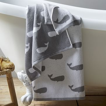 Whale Jacquard Towels #westelm $24 http://www.westelm.com/products/whale-jacquard-towel-b1538/?pkey=cbathroom-furniture-accessories&cm_src=bathroom-furniture-accessories||NoFacet-_-NoFacet-_--_-